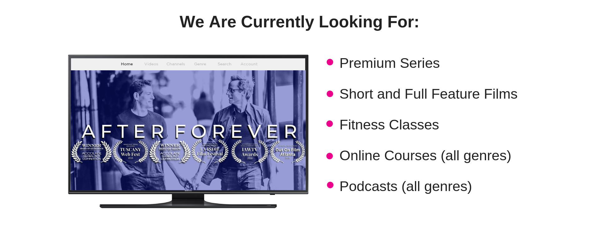 We are looking for premium series, films, fitness classes, cooking classes, podcasts and more.