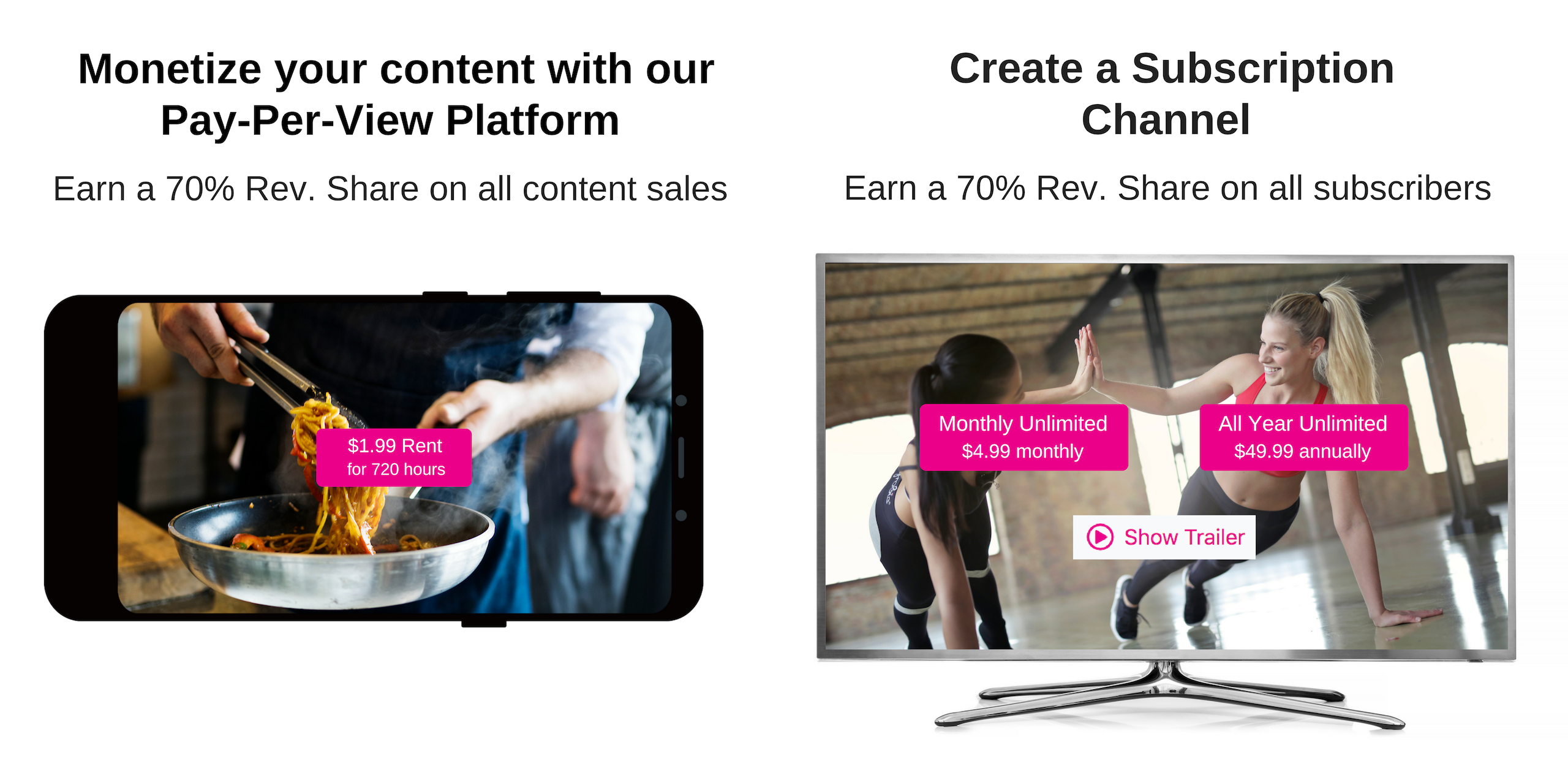 Get A Branded Channel and Distribution in Apple TV, ROKU, Amazon Fire, and others.